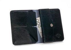Cienki skórzany męski portfel z bilonówką SOLIER SW15A SLIM CZARNY