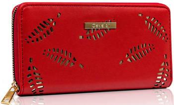 Duży portfel damski w kształcie piórnika z ażurowymi listkami — Cavaldi