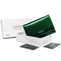 Duży, skórzany portfel damski z tylną kieszonką na suwak, lakierowany — Lorenti