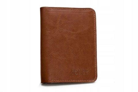 Cienki skórzany męski portfel SOLIER SW10 SLIM BRĄZ
