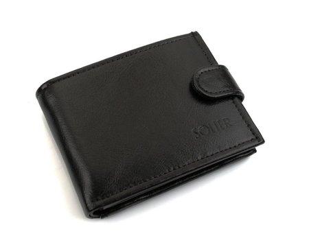 Elegancki czarny skórzany męski portfel SOLIER SW03
