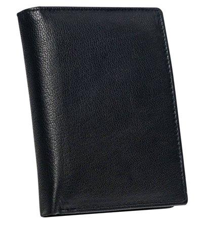 Klasyczny portfel męski ze skóry naturalnej - pionowy, bez zapięcia