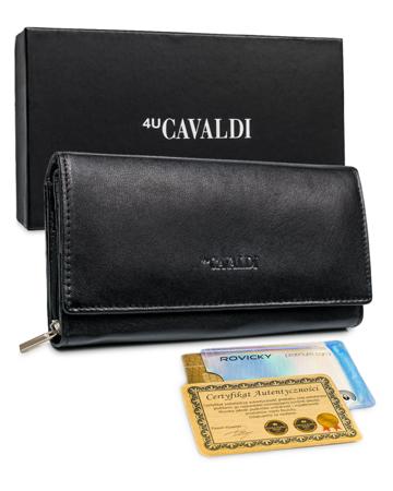 Piękny, duży, skórzany portfel damski z RFID — Cavaldi