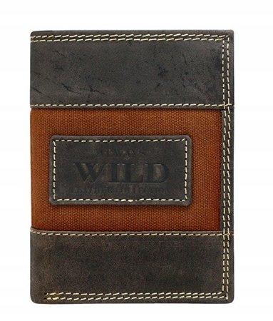Pionowy portfel męski, skóra naturalna, nubuk i jeans Always Wild
