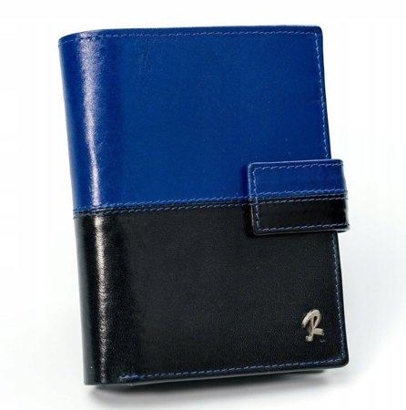 ROVICKY klasyczny portfel męski skórzany RFID stop N4L-VT2 BLACK-BLUE