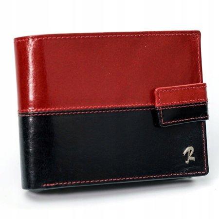 Skórzany portfel męski ROVICKY poziomy ze skóry N992L-VT2 BLACK-RED